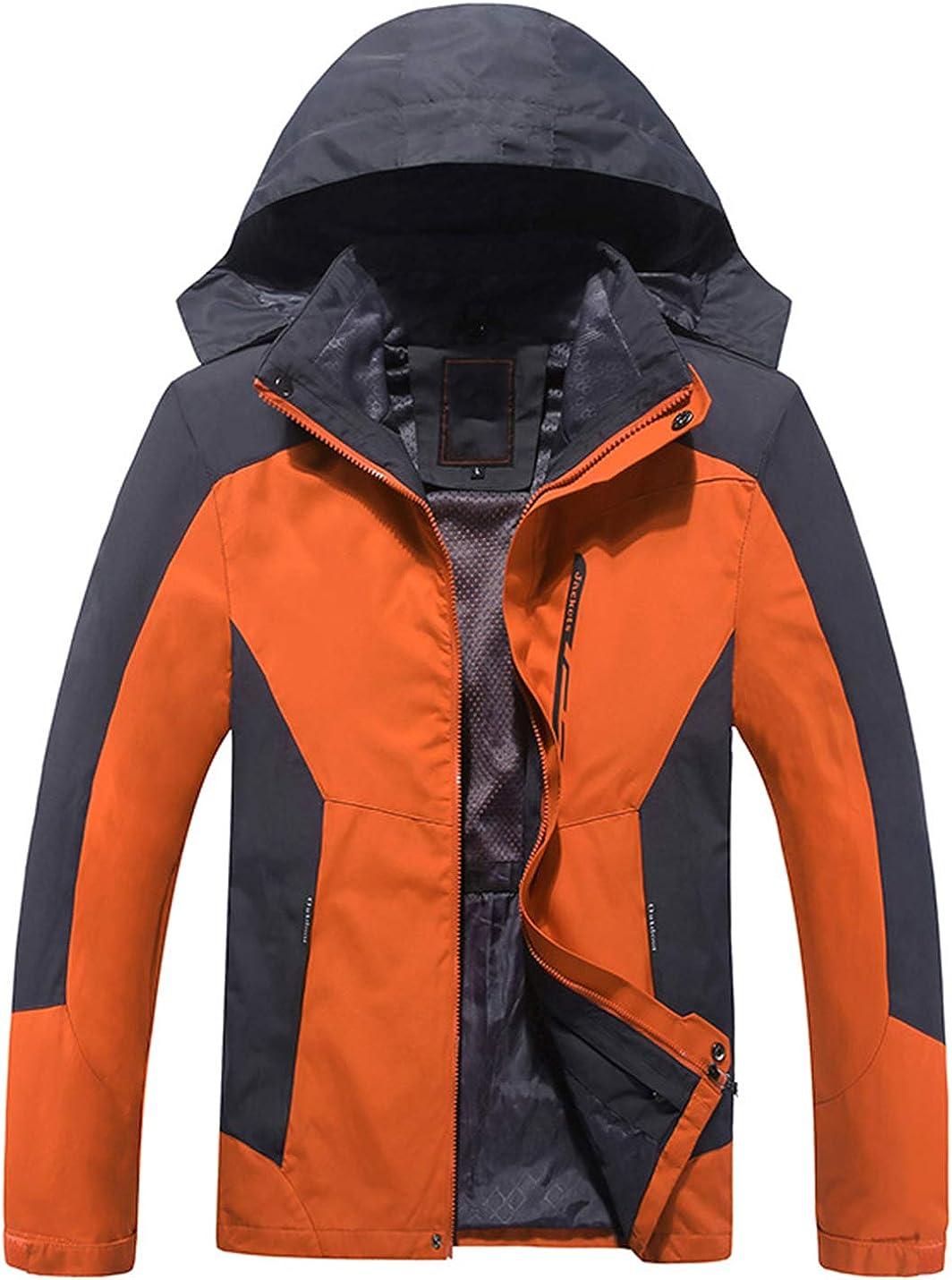 Uaneo Mens Casual Detachable Hood Waterproof Fleece Lined Outdoor Mountain Jackets(Orange-M)