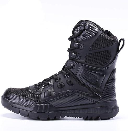Alaeo hombres Puntera de Acero Combate Táctico Seguridad Botines Botines Seguridad Policía Militar botas de Cuero Caminar Zip Up Trabajo Utilidad Calzado