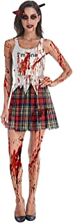 Womens Halloween Dress Sleeveless Bloody Printed Party Scary Zombie Costume