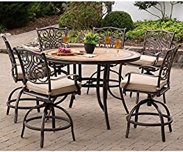 Hanover MONDN7PCBR-C-P Monaco 7-Piece High-Dining Set in Tan with a 56 in. Tile-top Table and 6 Swivel Chairs Outdoor Furniture