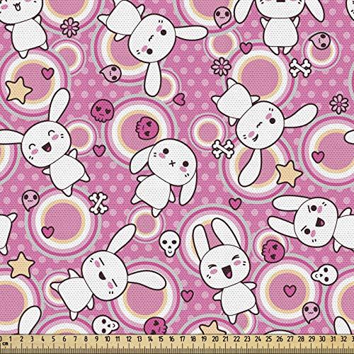 ABAKUHAUS Animal De La Historieta Tela por Metro, Doodle De Kawaii, Decorativa para Tapicería y Textiles del Hogar, 1M (148x100cm), Rosa Melocotón Blanco