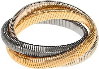 Janis Triple Cobra Bracelet - High Polished Yellow Gold, Gunmetal, and Rhodium