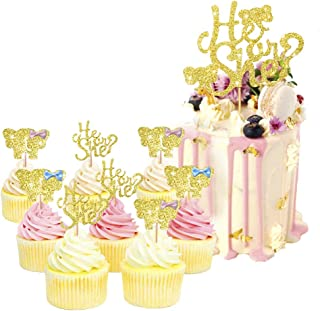 PinkBlume Double Sided Gold Glitter Gender Reveal Cake Toppers,He or She Cupcake Topper for Boy or Girl Baby Shower Party Decorations.(25 PACK)