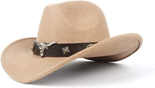 JAUROUXIYUJI New Unisex Women Men Hondo Cow Fedora Head Belt Wool Western Cowboy Hat Size 56-58CM (Color : Beige, Size : 56-59cm)