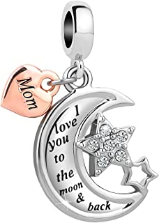 d1a171485 Charmed Craft Mom I Love You to The Moon and Back Charms Dangle Beads for  Snake