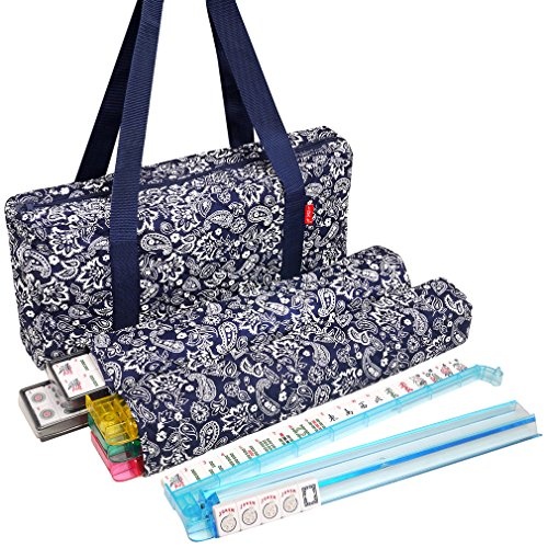 New! - American Mahjong Set by Linda Li8482; - 166 Premium White Tiles, 4 All-in-One Rack/Pushers, Blue Paisley Soft Bag...