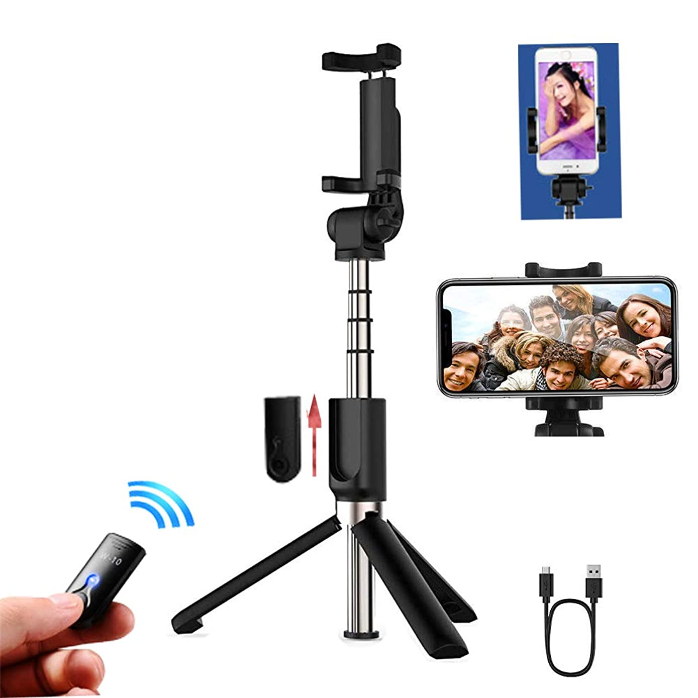 Selfie Stick,Bluetooth Mobile Phone Selfie Stick Mini Aluminum Alloy self-Timer Artifact Come with Tripod