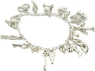 Grenf Fashion Silver Handcuff Bracelet Mask Key Bracelet Ring Button Pendant