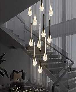 UWY Lustre LED Escalier Moderne Goutte d'eau Pendentif Éclairage pour Villa Duplex Escalier Long Pendentif Lampe Cristal V...