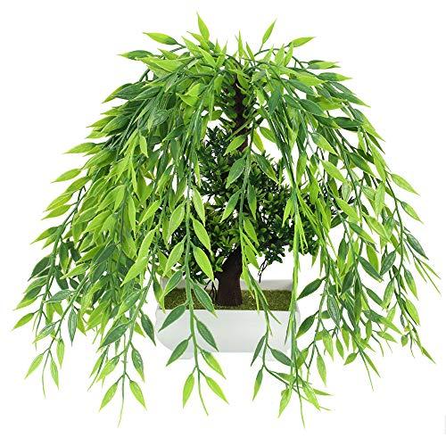 HUAESIN Planta Artificial Decorativa 30 x 25cm Plantas Plastico Decoracion Flores de Simulación Bonsai Verde para Hogar Fiesta Boda Oficina Balcon Mesa Escritorio con Maceta Blanco