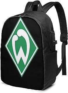 HOIH SV Werder Bremen Fu Ball Fussball Fußball Trendy Travel USB Rucksack, 17 Zoll Computer Business Rucksäcke Studentenrucksack Casual Hiking Daypack