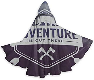 Adventure is Out There Bear Hatchets Halloween Hooded Cloak Adult Cloak Unisex Party Cosplay Costume Cloak