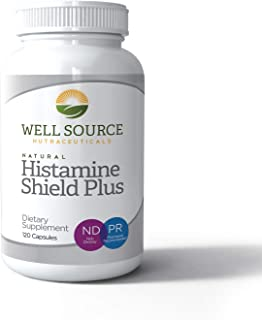 Histamine Shield Plus™ All Natural Antihistamine Supplement Works for Pollen, Pet Dander, Dust, Mold, and Odor Allergies. 120 Capsules