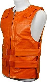 Harley Orange Leather - Bulletproof Style Motorcycle Vest (2XL)