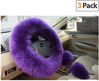 Younglingn Car Steering Whieel Gear Shift Handbrake Fuzzy Cover 1 Set 3 Pcs with Winter Warm Pure Wool for Girl Universal Fit Most Car(Purple)