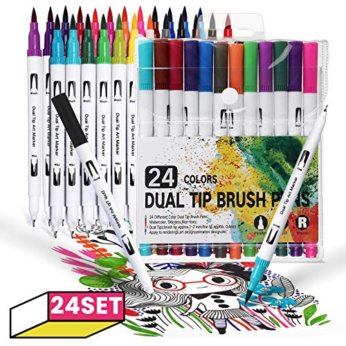 24 Colors Dual Tip Brush Pens Art Markers Set, Art Markers Coloring Brush Fineliner Color Pens for Kids Adult Calligraphy Drawing Sketching Coloring Book Bullet Journal Back to School Gifts
