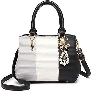 Bolso de Mano de Mujer Shopper de Hombro Bandolera Fiesta Multicolor Elegante Cuero Sintético (Negro)