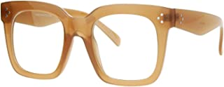 Super Oversized Clear Lens Glasses Thick Square Frame...
