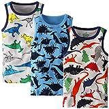 Adorel Camiseta sin Mangas Algodón para Niños Paquete de 3 Dinosaurios 3-4 Años (Tamaño del Fabricante 120)