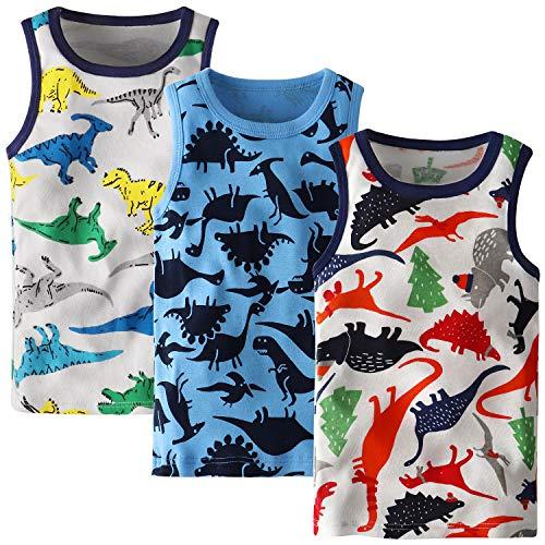Adorel Jungen Unterhemden Baumwolle Ärmellos 3er-Pack Dino Paradies 110 (Herstellergröße 130)
