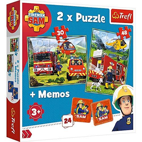 Brandsseller Juego 2 en 1 para niños, 2 puzzles, 1 memoria con motivos de Sam el bombero.