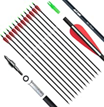 ANTSIR 30Inch Archery Carbon Arrow for Adult, Practice Hunting Arrow with Field Point-Adjustable Nock for Compound and Recurve Bow(Pack of 12)