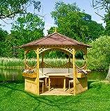 Promadino Pavillon Palma mit Bitumenschindeldach + Möbeln