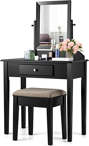 wholesale CHARMAID Vanity Set with Large 360° Swivel Mirror and Cushioned Stool, Dressing Table wholesale with Large Drawer, Makeup Table Writing Desk with Removable Top, Makeup Vanity Set for wholesale Girls Women, Black outlet online sale
