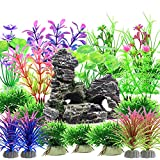 Decoración para peceras, 28 Piezas Plantas Verdes de Acuario de plástico y Acuario, Arrecife de montaña, Cueva de Roca, Resina, pecera, para acuario y pecera