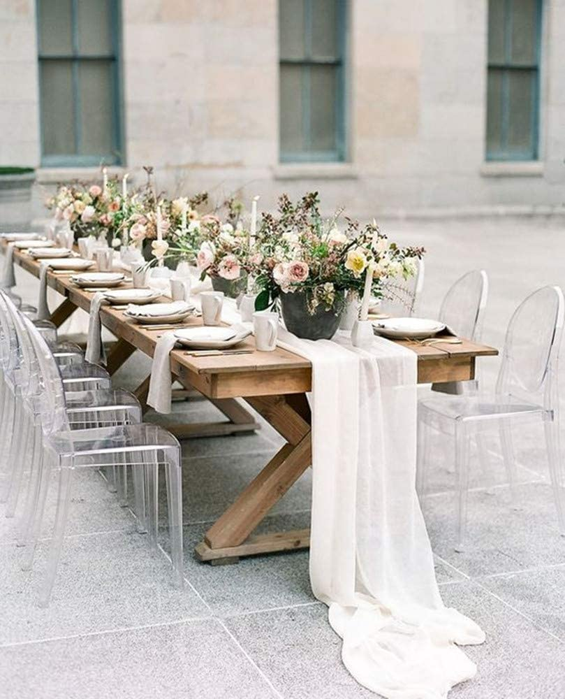 5 Pieces 10Ft Wedding Table S White Chiffon Runners NEW before OFFicial selling Runner