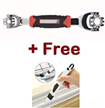 JN-STORE's Universal Wrench,Multi-Function Stainless Steel Spanner 48-in-1 Socket Works with Spline Bolts 360 Degree Rotation Wrench