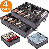 Anyoneer Under Bed Shoe Storage, drawer organizers, Sturdy Handles,Stainless Steel Zipper, shoe organizer under bed, Adjustable Dividers,Fits 24 Pairs Total - shoe organizer for closet, Set of 4, Gray