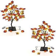 Lighted Maple Tree Tabletop Lamp - 2 Pack Decorating Gift Home Ornament 24 LED USB End Plug, Seasonal Fall Winter Decor Li...