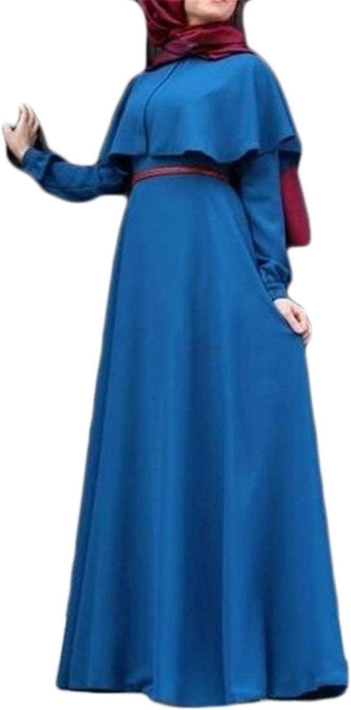 Miaohao Women's Abaya Muslim Long Sleeve Cape Solid color Saudi Poncho Maxi Dress