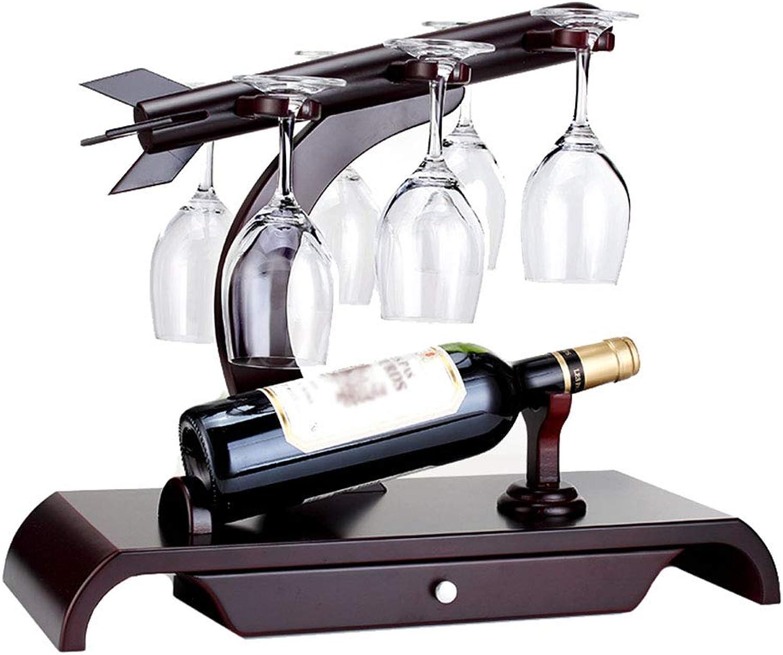 estilo clásico Estante De Vino De Madera     Diseño De Encimera   Estante De Almacenamiento De Mesa Stemware De Pie Libre   Cómomujerte Almacena 1 Botellas Y 6 Copas De Vino -47.5x26.5x39.5cm  precios al por mayor