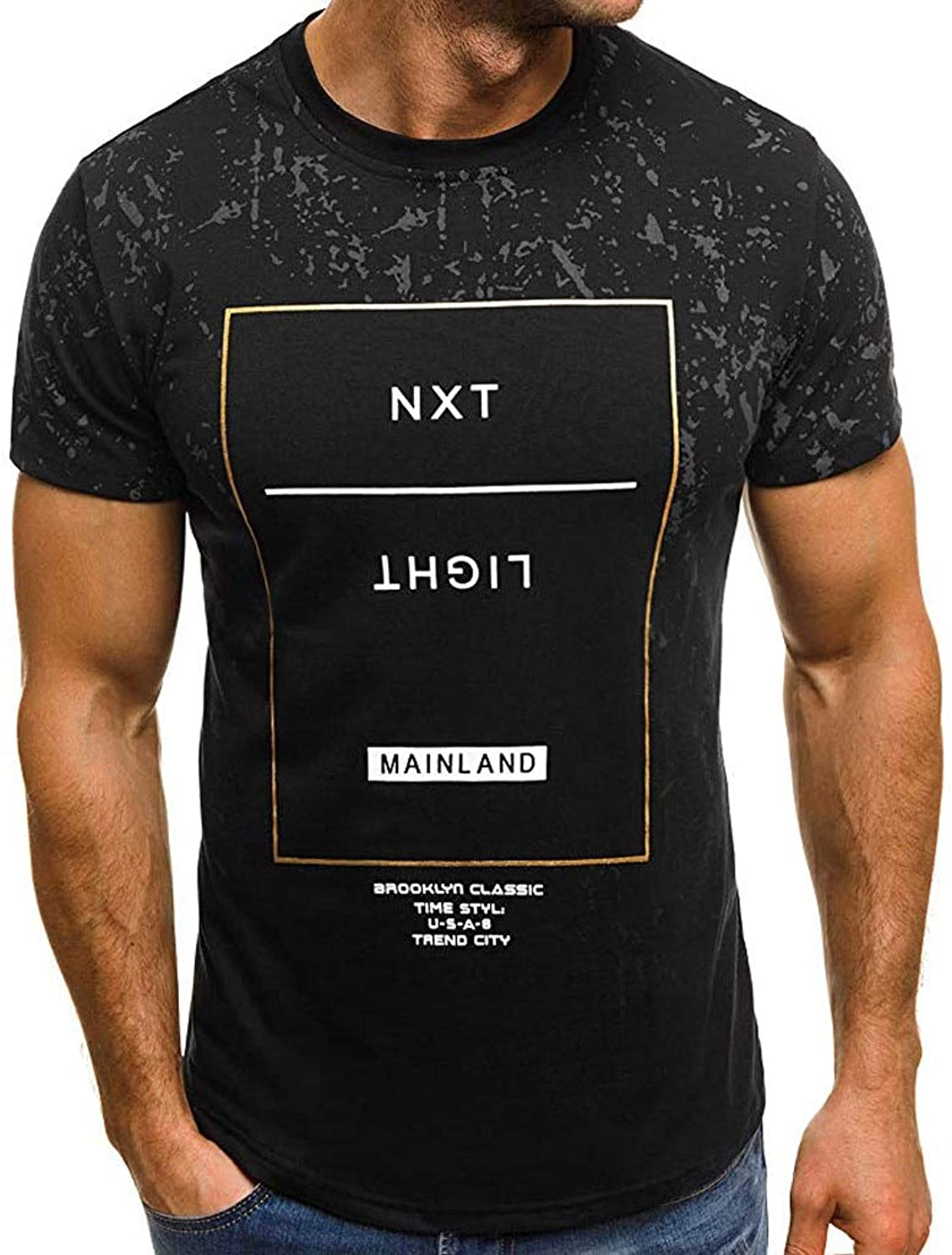 DUXIGJCD Men's Summer New Letter Printed Round Neck Sport Short Sleeves Fashion Casual Personality Blouse Top