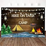Mocsicka Hike On Over to Camp Backdrop, Camping Birthday Party Decorations Rustic Bonfire Camping Birthday Party Banner Photography Background (7x5ft)
