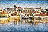 Bernice Winifred Praga, Repblica Checa - Rompecabezas 3D para Adultos - Castillo reflexionando sobre el Agua - Mapa del mundo-500 Piece 15In X 20.5In