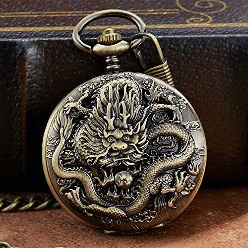 LEYUANA Reloj de Bolsillo mecánico de Plata de Lujo, Reloj Grabado de dragón Collar de Animales Colgante Reloj de Cuerda Manual Reloj de Cadena de Reloj de Hombre Reloj mecánico3