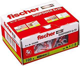 fischer 555006 DUOPOWER 6 x 30 - universele pluggen voor het bevestigen van hangkasten, wandplanken in beton, metselwerk e...