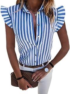 HOUJ قمصان نسائية مخططة قصيرة الأكمام بأزرار ملائمة لشكل الجسم