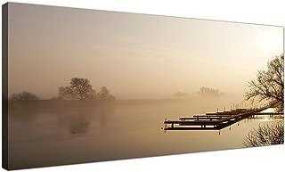 Moderno marrón lienzo de un río paisaje–Panorámica Paisaje Lienzos–1117–Wallfillers®