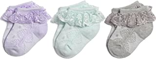Baby-Girls Eyelet Frilly Lace Socks,Newborn/Infant/Toddler/Little Girls (Pack of 2/3/4/6)