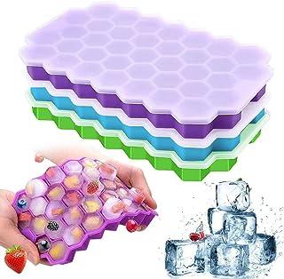 Wishesther Bac à Glaçons en Silicone Alimentaire, 3Pcs Moule à Glaçons avec Couvercle Reutilisables Congelateur Cube Glace...