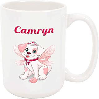 Camryn - Princess Dog Fairy - 15 Ounce Coffee or Tea Mug, White Ceramic, Unique Present Gift Birthday Idea Friend Girlfriend Wife Sister Mother Daughter Girl Granddaughter Aunt Niece Cute Puppy