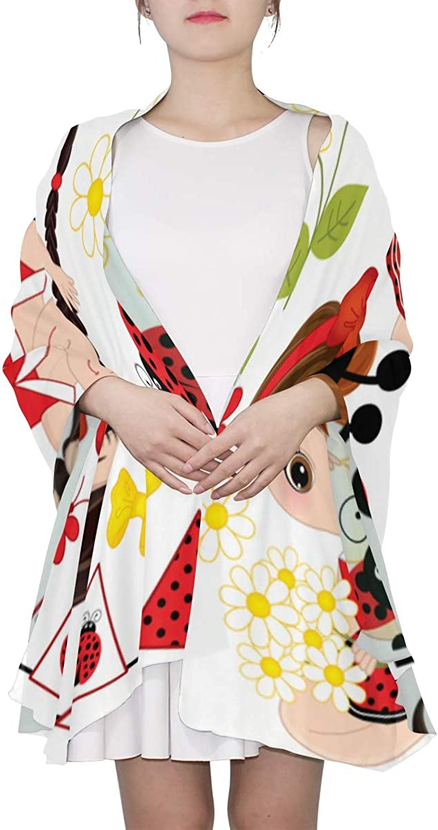 Cute Cartoon Girl With A Ladybug Unique Fashion Scarf For Women Lightweight Fashion Fall Winter Print Scarves Shawl Wraps Gifts For Early Spring
