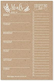 Rustic Weekly Meal Planning Calendar Grocery Shopping List Magnetic Pad for Fridge, Family Pantry Food Menu Board Organizer, Week Diet Prep Planner Tool, Refrigerator Magnet What to Eat Dinner Notepad