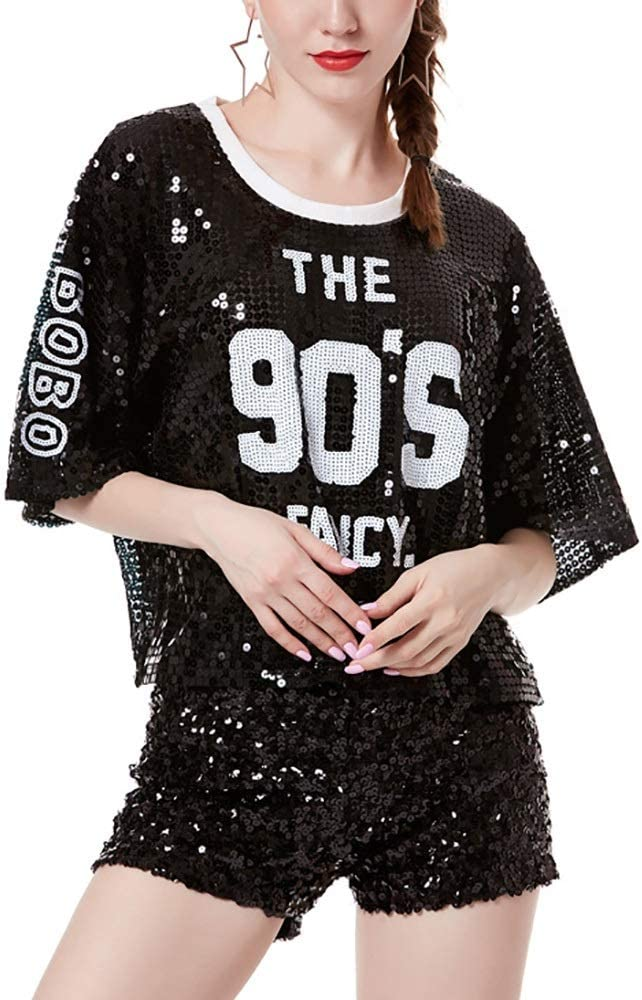YonCog Sequins Jazz Dancing Max 76% OFF T-Shirt free shipping Summer Sequ Ladies Lettering