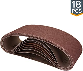 POWERTEC 110008 4 x 24 Inch Sanding Belts | Aluminum Oxide Sanding Belt Assortment, 3..