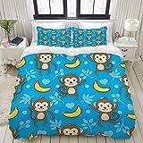 MOBEITI Bedding Bedrucktes Bettbezug-Sets,Nahtlose AFFE Banane Vektor Hintergrundmuster,Mikrofaser Kinder Student Schlafsaal Bettwäsche Set (1 Bettbezug + 2 Kissenbezüge)